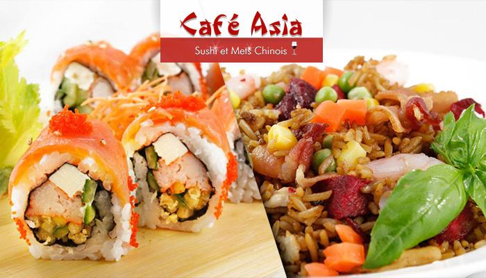 coupon rabais 10 pour 20 de d licieux sushis et mets asiatiques au caf asia apportez. Black Bedroom Furniture Sets. Home Design Ideas